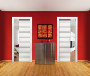 Space two single doors in one pocket